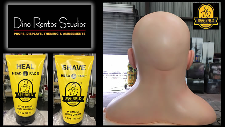 Bald Head and Bottle for convention tradeshow Foam Scenic sculpture prop