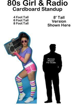 80s Girl & Radio Cardboard Cutout Standup Prop