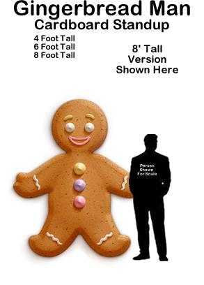 Gingerbread Man Cardboard Cutout Standup Prop