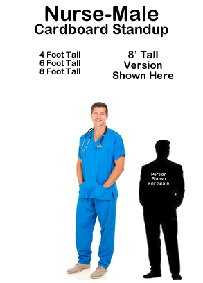Nurse Male Cardboard Cutout Standup Prop