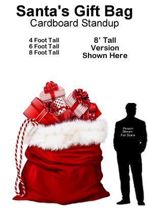 Santa Gift Bag Cardboard Cutout Standup Prop