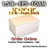 EPS Foam Block - 1.5 lb Density -12x16x24