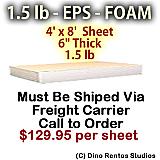 EPS Foam Sheet - 1.5 lb Density - 48x96x6