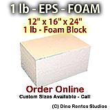 EPS Foam  Block - 1 lb Density -12x16x24